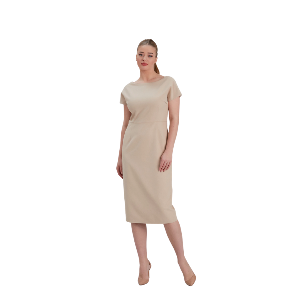 Iris Pencil Dress Beige by Noacode - The Raven Collective - LM Fashion Agency