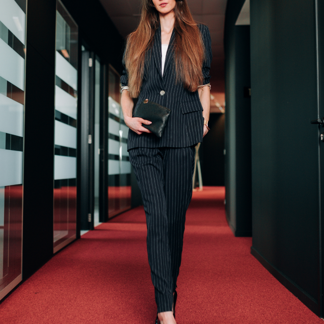 Work fashion trend - corporate stripes - LM Fashion Agency - Pinstripe suit